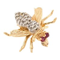 Vintage Bumble Bee Brooch Pin Diamond Ruby 14 Karat Yellow Gold Insect Jewelry