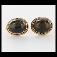 Vintage 14 Karat Yellow Gold Tigers Eye Earrings Fine Estate Jewelry Pre-Owned
