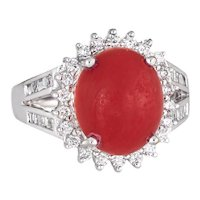 Sardinian Red Coral Diamond Ring Estate 18 Karat White Gold Princess Style Jewelry