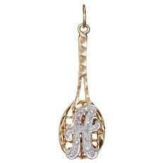Letter A Diamond Tennis Pendant Vintage 14 Karat Yellow Gold Estate Sports Jewelry