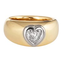 Heart Shaped Diamond Band Vintage 18 Karat Yellow Gold Heavy Ring Estate Jewelry 5.25