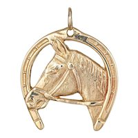 Vintage Horse Pendant Charm Good Luck Horseshoe 14 Karat Yellow Gold Animal Jewelry