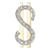 Diamond Dollar Sign Pendant Charm Vintage 14 Karat Yellow Gold Currency Jewelry