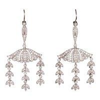 2.25ct Diamond Dangle Earrings Vintage Platinum 14 Karat Gold Foliate Drops Jewelry