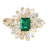 Emerald Diamond Cocktail Ring Vintage 18 Karat Yellow Gold Mixed Cut Estate Jewelry