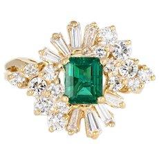 Emerald Diamond Cocktail Ring Vintage 18 Karat Yellow Gold Mixed Cut Estate Jewelry
