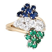 Diamond Gemstone Cluster Ring Vintage Emerald Sapphire 14 Karat Yellow Gold Jewelry