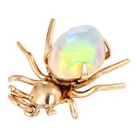 Vintage Spider Pendant Charm Ethiopian Fire Opal 10 Karat Yellow Gold Estate Jewelry