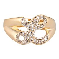 Letter L Diamond Signet Ring Vintage 14 Karat Yellow Gold Initial Estate Jewelry Sz 9