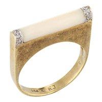 Vintage 70s Diamond Bar Ring White Coral 14 Karat Yellow Gold Square Stacking Band