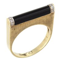 Vintage 70s Diamond Bar Ring Black Onyx 14 Karat Yellow Gold Square Stacking Band