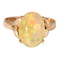 Ethiopian Fire Opal Ring Vintage 14 Karat Yellow Gold Oval Leaf Jewelry Estate 6.75