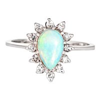 Natural Opal Diamond Ring Vintage 14 Karat White Gold Pear Shaped Jewelry Estate
