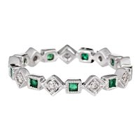 Emerald Diamond Eternity Ring Sz 6.5 Triangle Square 14 Karat White Gold Estate