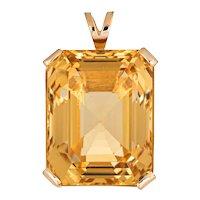 Large 43ct Citrine Pendant Vintage 14 Karat Yellow Gold Emerald Cut Estate Jewelry