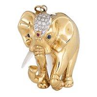 Heavy Elephant Pendant Vintage 18 Karat Yellow Gold Diamond Gemstones Large Jewelry