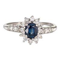 Sapphire Diamond Princess Ring Estate 14 Karat White Gold Gemstone Engagement 8.5