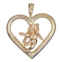 Cupid Angel Heart Pendant Charm Estate 14 Karat Yellow Gold Love Vintage Jewelry