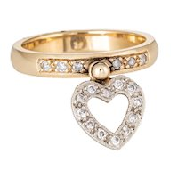 Diamond Heart Charm Ring Vintage 14 Karat Yellow Gold Stacking Estate Jewelry 6.25