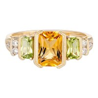 Peridot Citrine Diamond Ring Estate 14 Karat Yellow Gold Square Mixed Gemstones 6.25