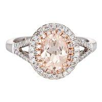 Morganite Diamond Ring Double Halo 14 Karat White Gold Estate Fine Jewelry Sz 6