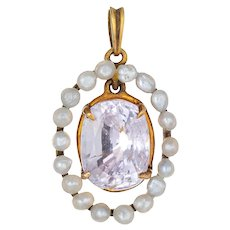 Antique Edwardian Pink Sapphire Seed Pearl Pendant 14 Karat Yellow Gold Small Oval