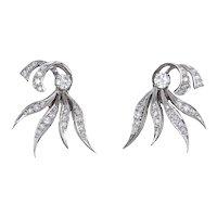 Vintage 50s Diamond Earrings 14 Karat White Gold Estate Fine Jewelry Spray Design