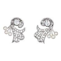 Vintage Platinum Diamond Pearl Spray Earrings Mid Century Estate Fine Jewelry