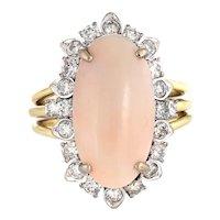 Angel Skin Coral Diamond Ring Vintage 14 Karat White Gold Cocktail Jewelry Sz 5.25