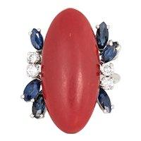 Sardinian Red Coral Sapphire Diamond Ring Vintage 18 Karat White Gold Fine Cocktail