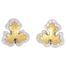 Sidney Garber Diamond Earrings 18 Karat Two Tone Gold Organic Clip On Signed Jewelry