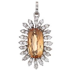 Natural Imperial Topaz Diamond Pendant 14 Karat Gold Vintage Jewelry Large Oval