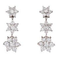 2.25ct Diamond Drop Earrings Estate 18 Karat White Gold Flowers Three Tier Jewelry