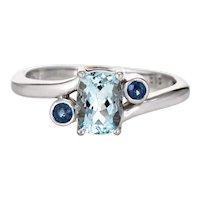 Small Aquamarine Sapphire Ring Estate 14 Karat White Gold Fine Jewelry Sz 6.5