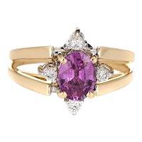 Vintage Reversible Flip Ring 14 Karat Yellow Gold Pink Sapphire Diamond Two in One 5