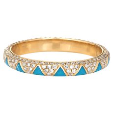 Diamond Blue Enamel Eternity Ring Sz 6.5 14 Karat Yellow Gold Estate Stacking Band