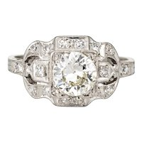 Vintage Deco 0.85ct Diamond Engagement Ring Platinum Fine Antique Jewelry 6.25