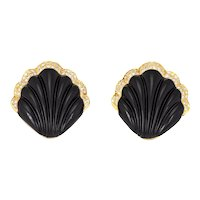 Fluted Onyx Diamond Shell Earrings Vintage 18 Karat Yellow Gold Large Cocktail Fine