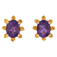 Amethyst Citrine Stud Earrings Vintage 14 Karat Yellow Gold Oval Mixed Gemstones