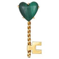Hammerman Bros Malachite Heart Key Brooch Vintage 18 Karat Yellow Gold Jewelry