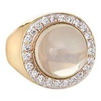 Moonstone Diamond Ring Vintage 14 Karat Yellow Gold Square Band Heavy Fine Jewelry