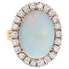 Large Natural Opal Diamond Ring Vintage 18 Karat Yellow Gold Oval Cocktail Jewelry