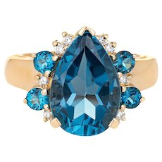 London Blue Topaz Diamond Ring Vintage 14 Karat Yellow Gold Pear Cut Estate Jewelry
