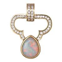 Opal 1ct Diamond Large Pendant Vintage 18 Karat Yellow Gold Large Enhancer Jewelry