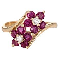 Ruby Diamond Double Flower Ring Moi et Toi 14 Karat Yellow Gold Vintage Jewelry 4.5