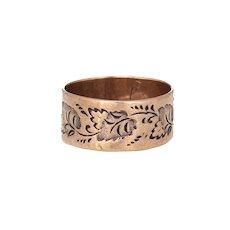 Antique Victorian Wedding Band 10 Karat Rose Gold Ivy Leaf Pattern 5.5 Vintage Ring