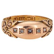 Antique Victorian c1899 Diamond Gypsy Band 15k Gold Rose Cuts 5 Stone Jewelry