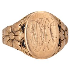 Antique Victorian Mens Signet Ring Vintage 10 Karat Rose Gold Oval Chased Mount 8.5