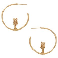 Vintage Owl Hoop Earrings 14 Karat Yellow Gold Diamond Eyes 1 Inch Estate Jewelry