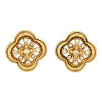 Jose Hess Diamond Earrings Vintage 18 Karat Yellow Gold Quatrefoil Design Jewelry
